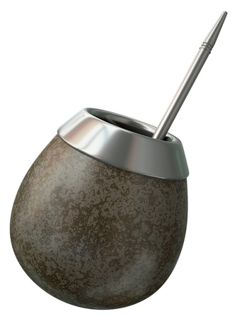 yerba mate: Tradicional taza de yerba mate sobre fondo blanco. 3D render. Foto de archivo