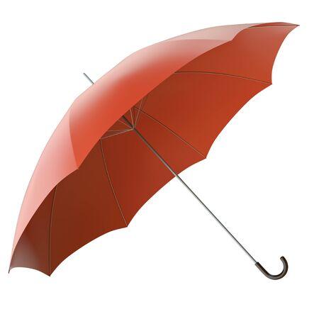 brolly: Paraguas rojo sobre fondo blanco. 3D render. Foto de archivo