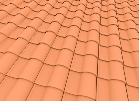 Orange roof tiles. 3D render.  photo