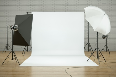 Photo studio interior with white background and lighting equipment. 3D render.