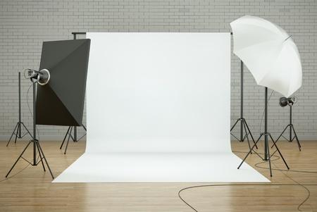 Photo studio interior with white background and lighting equipment. 3D render. photo
