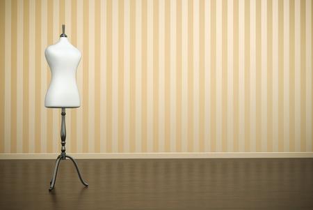 Ouderwetse interieur met witte kleding mannequin. 3D render.