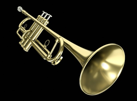 Trumpet against a black background. 3D render.
