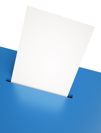 voting ballot: Blank ballot in a slot. 3D render