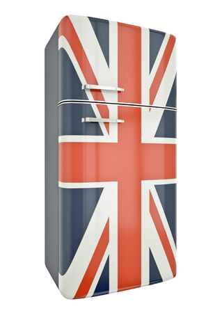 Union Jack fridge. 3D render. photo