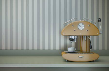 Retro coffee machine. 3D render photo