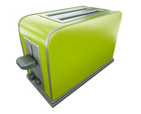 toaster: Green toaster. 3D rendered image.