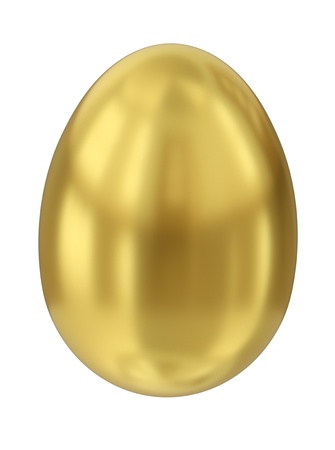 Gold egg isolated on white background. 3D render. photo