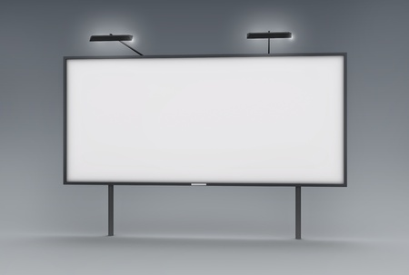 Blank billboard with lamps, 3D render.
