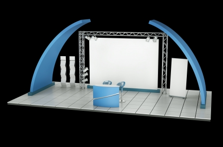 display stand: Tradeshow stand against a black background. 3D rendering.