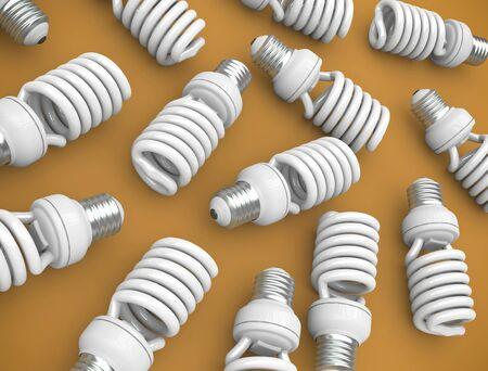 Energy efficient light bulbs on an orange plane. 3D render. photo