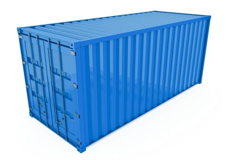 Blue shipping container isolated on white. 3D render.