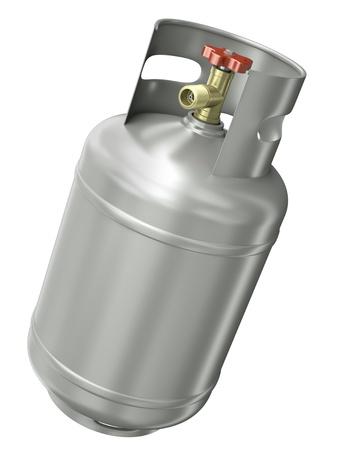 cilindro de gas: Contenedores de gas aisladas sobre fondo blanco. 3D render.