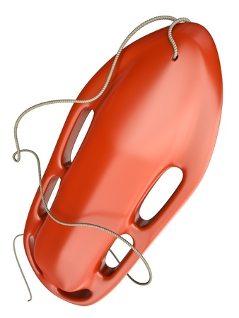 baywatch: Red rescue buoy isolated on white background. 3D render. Stock Photo