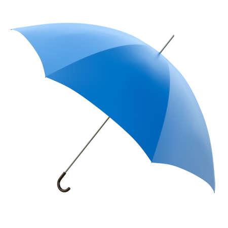 Blue umbrella isolated on white background, 3D render photo