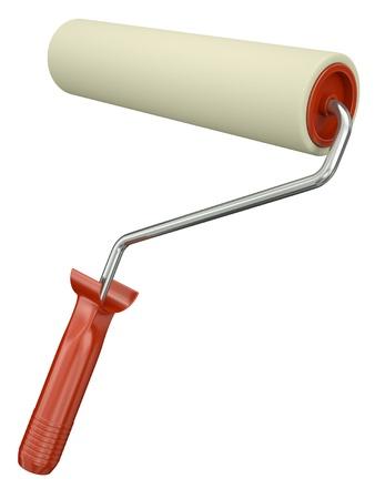 roller brush: Paint roller isolated on white background. 3D render. Stock Photo
