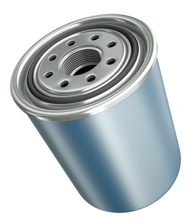new motor vehicles: Car engine oil filter, 3D render. Stock Photo