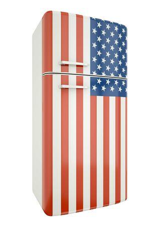 fridge: US flag fridge. 3D render. Stock Photo