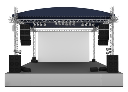 Front view of outdoor gig stage. 3D render photo