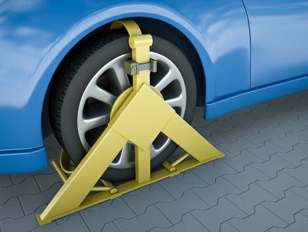 parking violation: Clamped vehicle close-up. 3D render