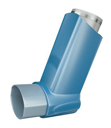 inhale: Blue medicine inhaler isolated on white background  3D render Stock Photo