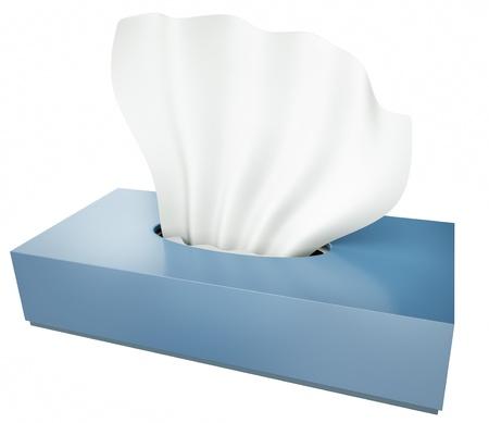 doku: beyaz bir arka plan üzerinde izole mavi doku kutusu 3D render Stok Fotoğraf