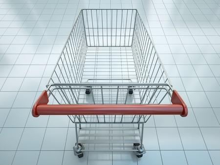 carro supermercado: Cesta de la compra vacío visto desde la perspectiva de los compradores s Foto de archivo