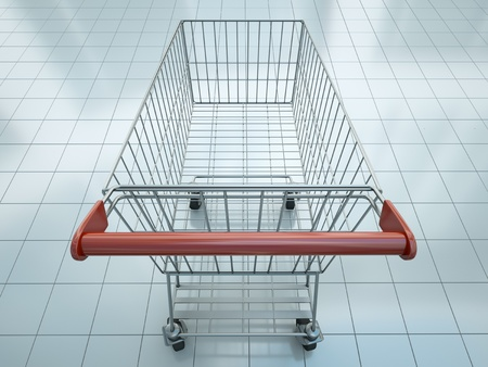supermarket cart: Empty shopping cart seen from shopper s perspective Stock Photo