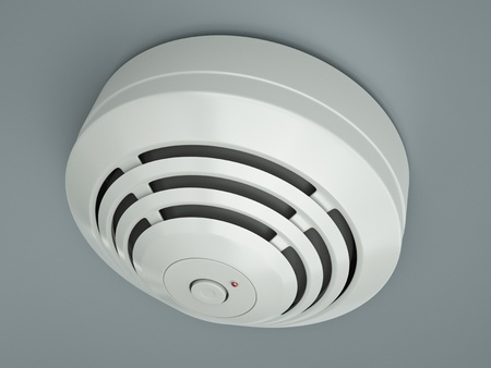 Smoke detector attached to the ceiling  3D render photo
