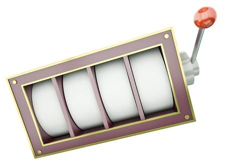 tragamonedas: Fruto de la máquina con 4 carretes en blanco sobre fondo blanco 3D render