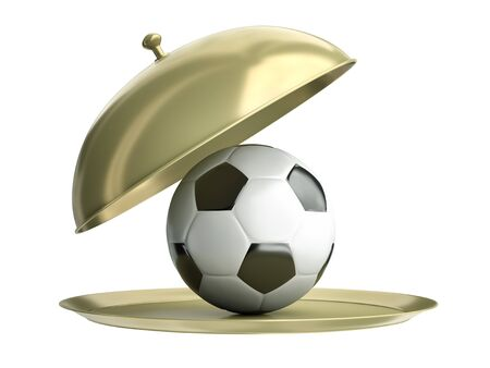 Gold catering tray with a soccer ball  3D render photo