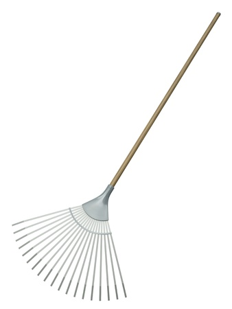 Leaf rake isolated on white background. 3D render