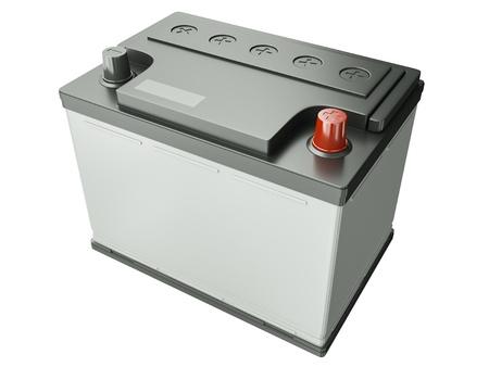 piles: Batterie de voiture isol� sur fond blanc. 3D render Banque d'images
