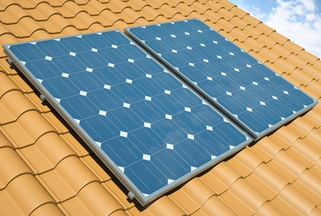 Solar panels on the roof. 3D render Stock Photo - 12905336