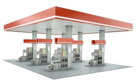 station service: Station d'essence contemporaine isol� sur fond blanc. 3D render