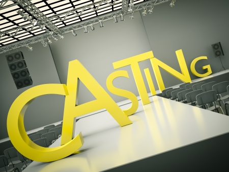 fashion catwalk: Fashion casting concept. 3D rendered image
