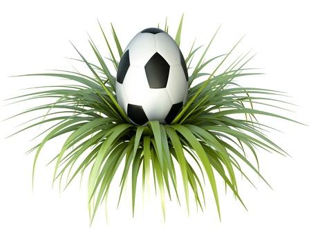 ostern lustig: Fu�ball  Fu�ball-Themen-Osterei. 3D �bertragen Lizenzfreie Bilder