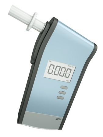 analyzer: Breath analyzer for measuring blood alcohol content isolated on white background. 3D render.