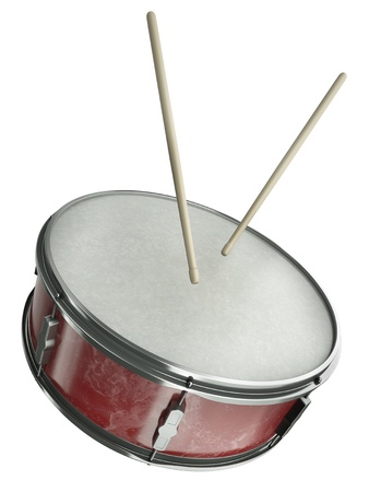 Snare drum and drumsticks isolated on white background. 3D render photo