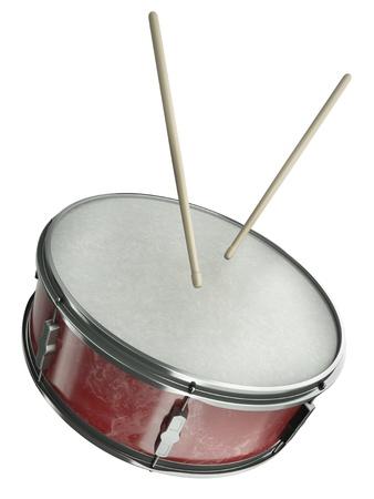 drums: Tambor y palillos aislados en fondo blanco. 3D render