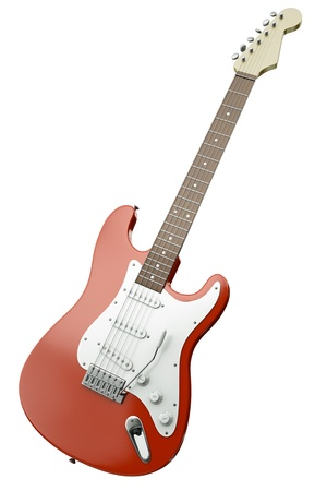tremolo: Red electric guitar isolated on white background. 3D render