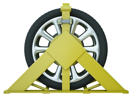 clamped: Car wheel clamp – punishment for illegal parking. 3D render