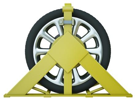 delito: Ruedas de coches abrazadera castigo por estacionamiento ilegal. 3D render Foto de archivo