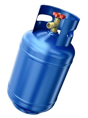 실린더: 블루 가스 용기 흰색 배경에 고립입니다. 3D 렌더링