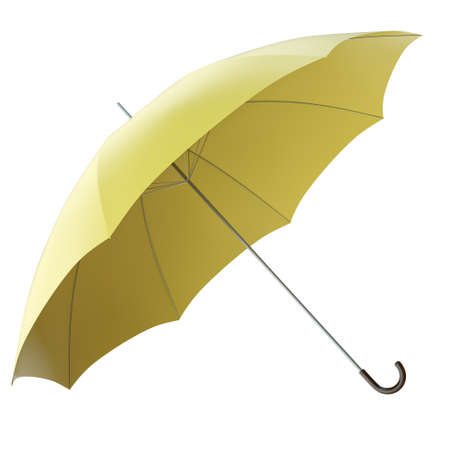 brolly: Yellow umbrella isolated on white background. 3D render Stock Photo