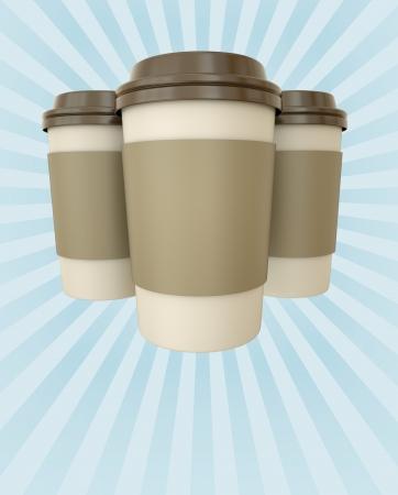 tenedores: Tazas de caf� al anunciante con copyspace 3D render Foto de archivo