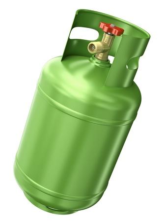 cilindro de gas: Contenedores de gas verde aislado en fondo blanco 3D render Foto de archivo