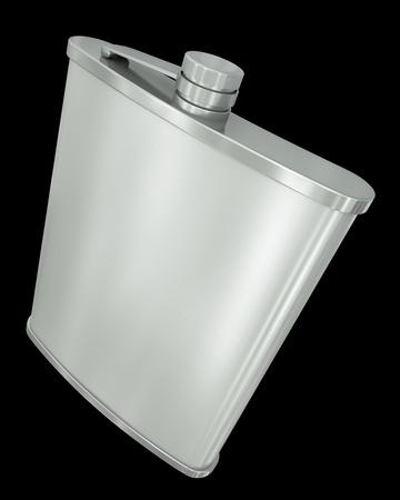 vodka bottle: Hip flask isolated on black background  3D render