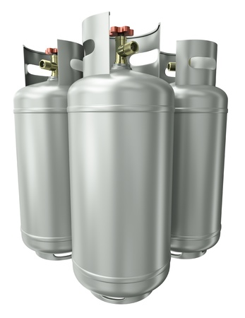 Three gas containers. 3D render.