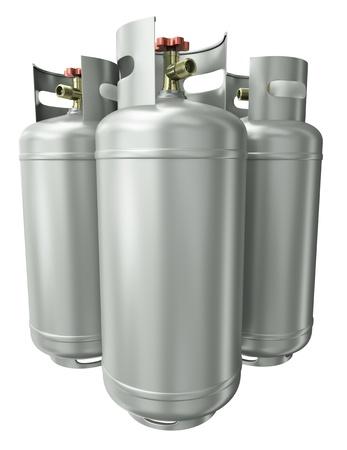 cisterne: Tre contenitori per gas. Rendering 3D.